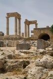 上城希腊lindos 免版税库存照片