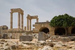 上城希腊lindos 免版税图库摄影