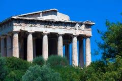 上城雅典希腊hephaistos寺庙 免版税库存照片