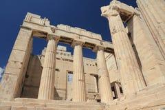 上城雅典希腊propylaea 库存图片