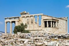 上城雅典erechtheum希腊寺庙 库存图片