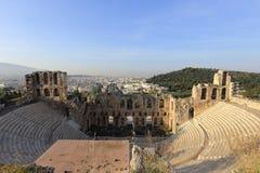 上城,雅典,希腊古老音乐厅  图库摄影