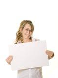 上复制藏品空间白人妇女 免版税库存照片