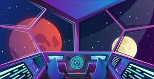 上尉桥梁太空飞船内部有扶手椅子的在紫色颜色 与雷达的未来派指挥所传染媒介例证, 库存图片