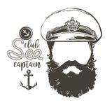 上尉胡子,盖帽,太阳镜 免版税图库摄影