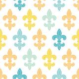 上帝和蓝色百合无缝的样式背景 免版税图库摄影