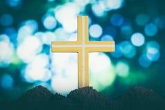 上帝对人的` s爱的跨的标志现出轮廓十字架 库存图片