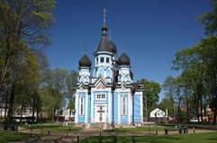 上帝象的母亲教会  德鲁斯基宁凯,立陶宛 库存照片
