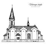 上帝,地标俄罗斯的永久帮助母亲教会,导航手拉的剪影隔绝在白色背景 免版税库存图片