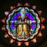 上帝-圣Petronio,波隆纳大教堂彩色玻璃  免版税图库摄影