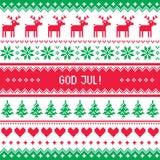 上帝7月样式-在瑞典语、丹麦语或者挪威语的圣诞快乐 免版税库存图片