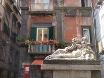 上帝` s Nilo雕象在那不勒斯的历史中心 意大利 免版税库存照片