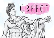 上帝Apollon 古希腊的神话英雄 国家珍宝 解毒剂 手拉的美丽的传染媒介艺术品 免版税库存图片