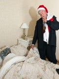 上床醉酒的丈夫 库存图片