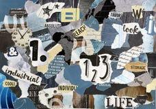 上拼贴画板料由被撕毁的杂志纸制成 库存照片
