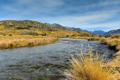 登上星期天,魔戒电影Edoras场面,新西兰的摄制地点 库存图片
