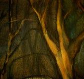 上油在帆布风景,树在夜公园 免版税库存图片