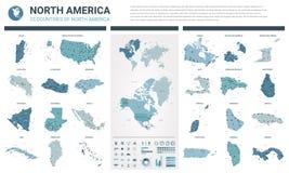 传染媒介地图集合 上流详述了北美洲国家23张地图有管理部门和城市的 政治地图,地图  向量例证