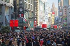 上海南京路步行者街道 免版税库存照片