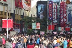 上海南京路步行streetShanghai南京路步行者街道 库存照片