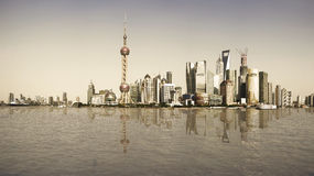上海回忆地标地平线在城市风景的 免版税图库摄影
