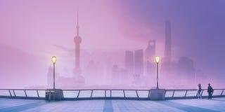 上海地平线看法与薄雾,中国的 库存图片