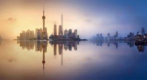 上海地平线都市风景 免版税图库摄影