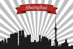 上海市地平线有光芒背景和丝带 皇族释放例证