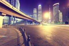 上海市普东区在晚上 免版税库存照片