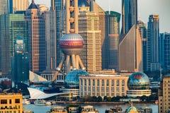上海日落 库存照片