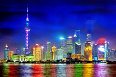上海浦东从障壁的地平线视图,中国 图库摄影
