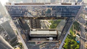 上海环球金融中心顶视图  图库摄影