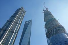 上海环球金融中心, jinmao塔,上海中心 免版税库存图片