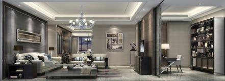 上海资深公寓和客厅和研究典雅式样  库存图片