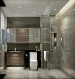 上海高级apartment& x27; 国内洗手间s简明的样式  免版税库存图片
