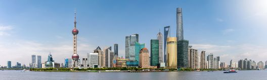 上海,中国地平线的全景,有偶象大厦的 免版税库存照片