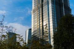 上海,中国- 2018年1月15日:云彩被反射的一个高玻璃摩天大楼 附近有树 免版税库存图片