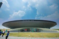 上海,中国- 2016年9月2日:华为的到会者连接 免版税库存照片