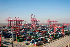 上海洋山深水口岸经济FTA集装箱码头起重机举的塔 库存照片
