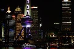 上海lujiazui财务和贸易区地平线的夜视图 免版税库存照片