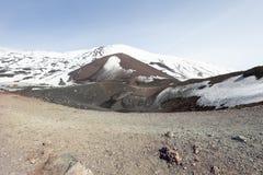 登上火山Etna,与雪的火山的火山口 意大利西西里岛 图库摄影