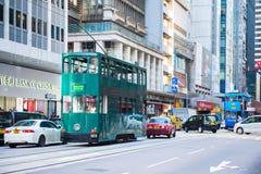 上环,香港- 2018年1月14日:tra的香港电车 免版税库存照片