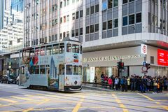 上环,香港- 2018年1月14日:tra的香港电车 免版税库存图片