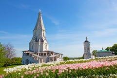 上生的教会在Kolomenskoye,莫斯科,俄罗斯 免版税库存照片