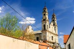 上生美丽如画的洛可可式的教会,维尔纽斯,立陶宛 库存图片