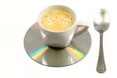 上瘾的咖啡计算机早晨符号重点 免版税图库摄影