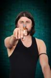 上瘾者药物射击被模拟的工作室注射器 免版税库存图片