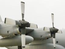 登上的两个飞机引擎翼 免版税库存图片