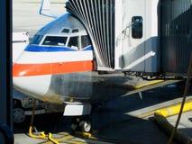 上的舷梯在喷气机飞机 库存照片