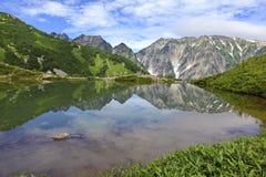 登上的Karamatsu,日本阿尔卑斯高山地形 库存照片
